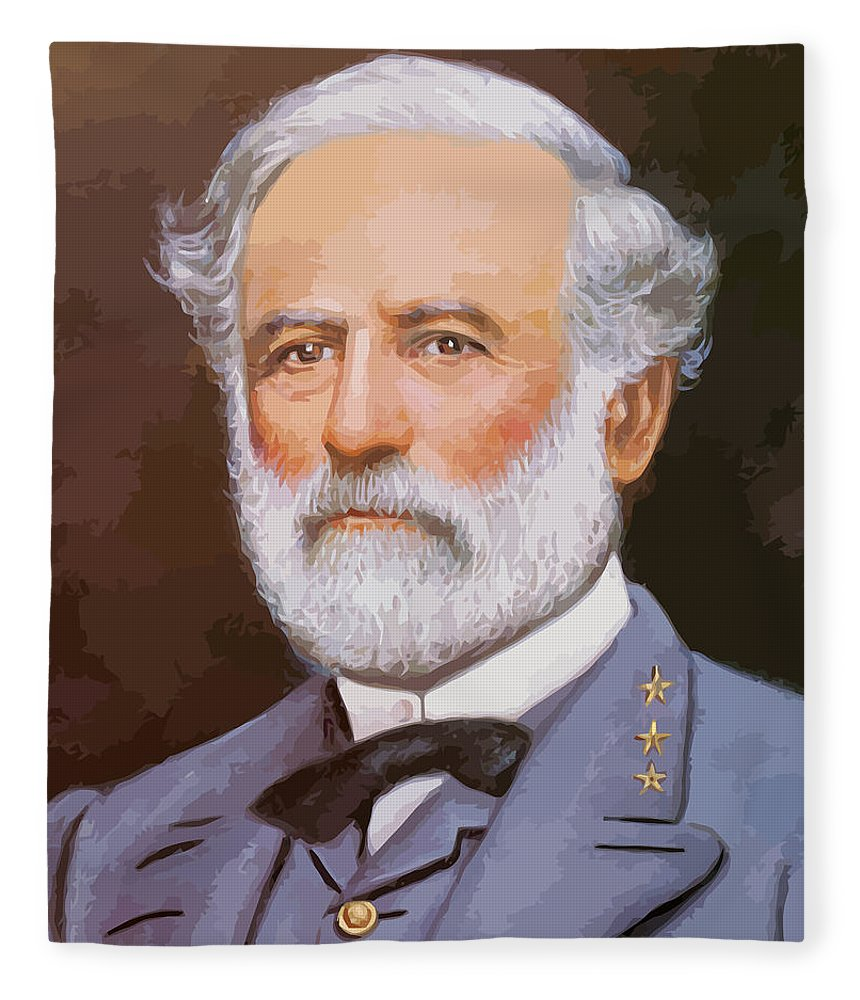 Robert E Lee Fleece Blanket featuring the painting General Lee by War Is Hell Store