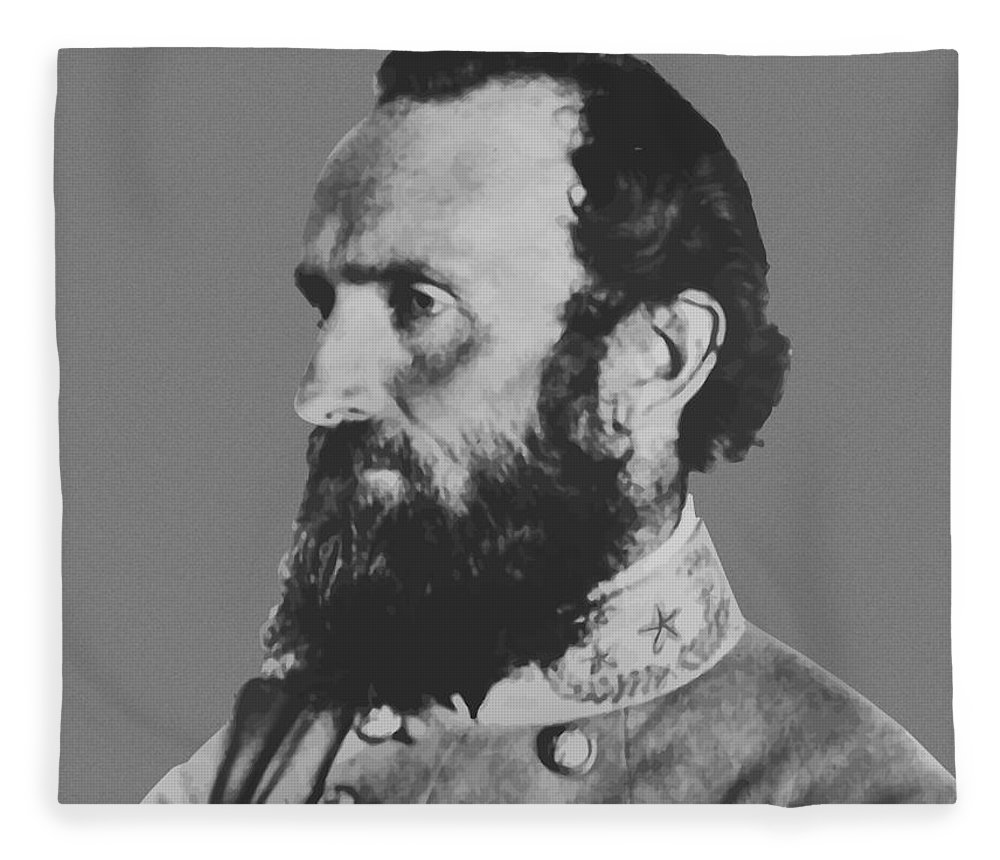 Stonewall Jackson Fleece Blanket featuring the painting General Stonewall Jackson Profile by War Is Hell Store