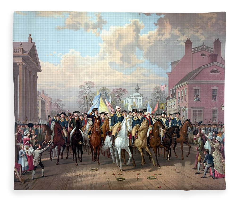 George Washington Fleece Blanket featuring the painting General Washington Enters New York by War Is Hell Store