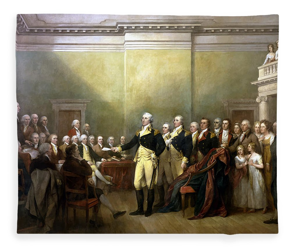 George Washington Fleece Blanket featuring the painting General Washington Resigning His Commission by War Is Hell Store