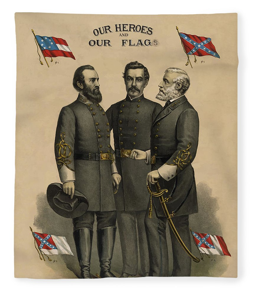Confederate Fleece Blanket featuring the painting Generals Jackson Beauregard And Lee by War Is Hell Store