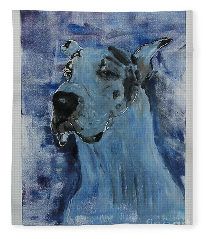 Great Dane Fleece Blanket featuring the mixed media Gentle Giant by Cori Solomon