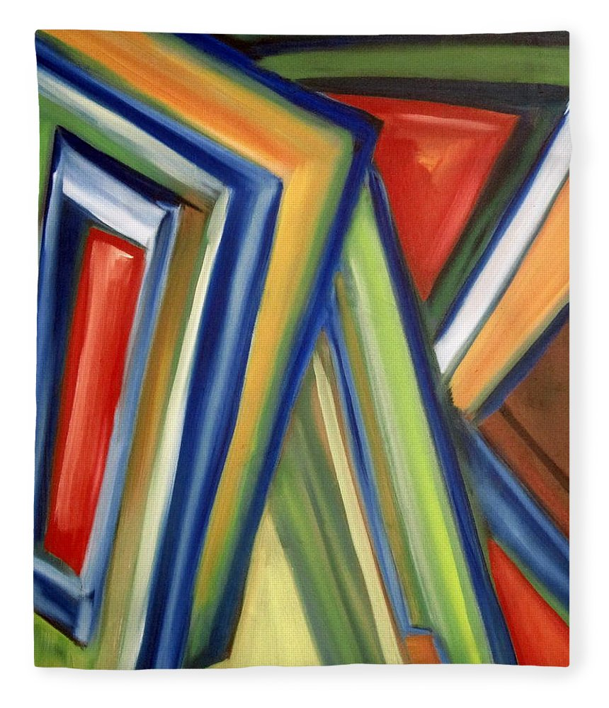 Rectangles Fleece Blanket featuring the painting Geometric Tension Series V by Patricia Cleasby