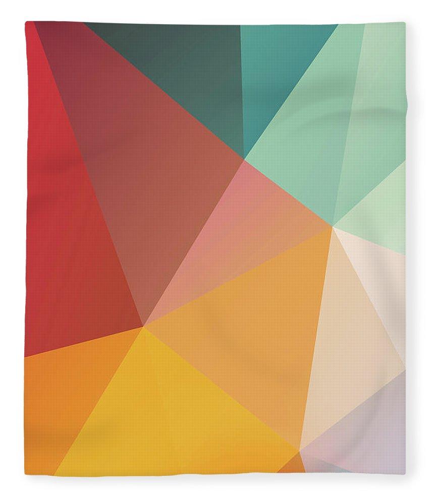 Fleece Blanket featuring the digital art Geometric XXIX by Ultra Pop