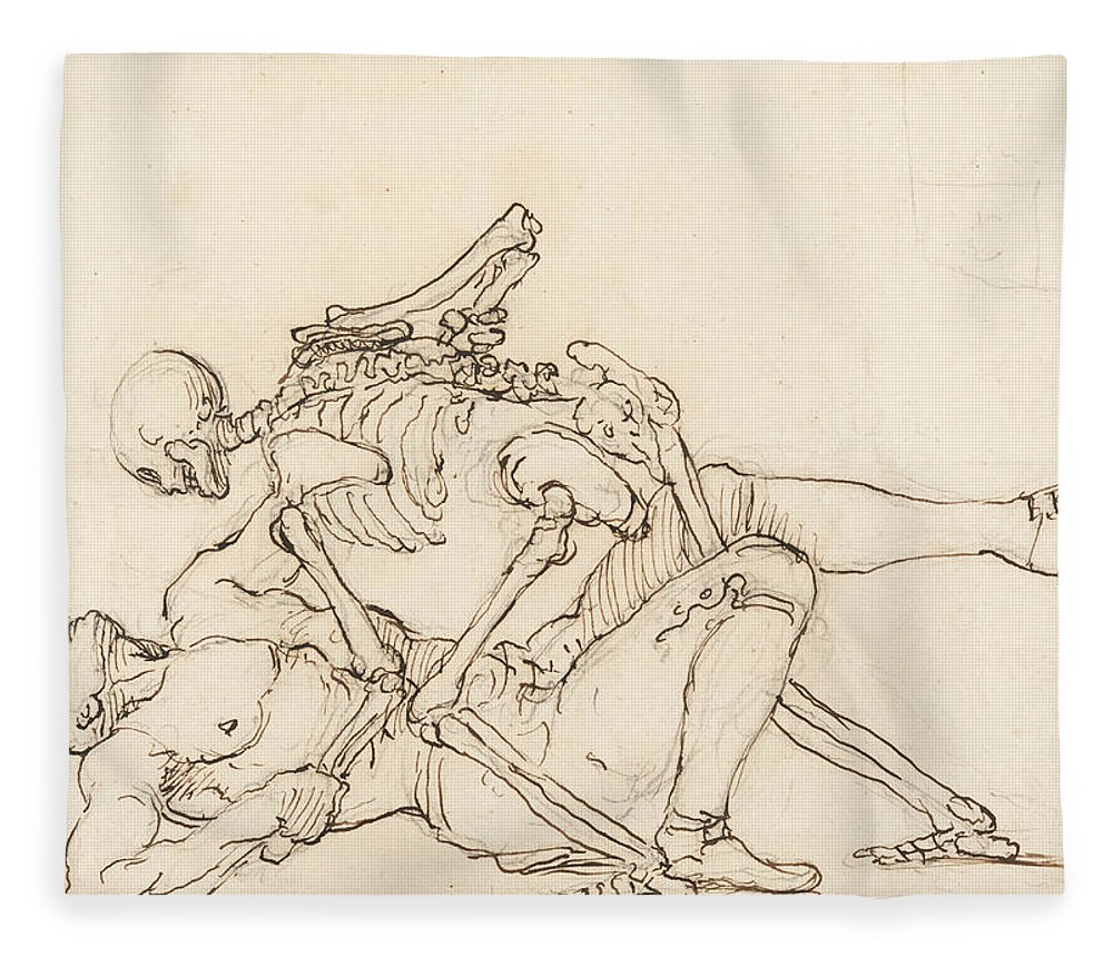 William Hogarth Fleece Blanket featuring the drawing George Taylor's Epitaph - Death Giving George Taylor A Cross Buttock by William Hogarth