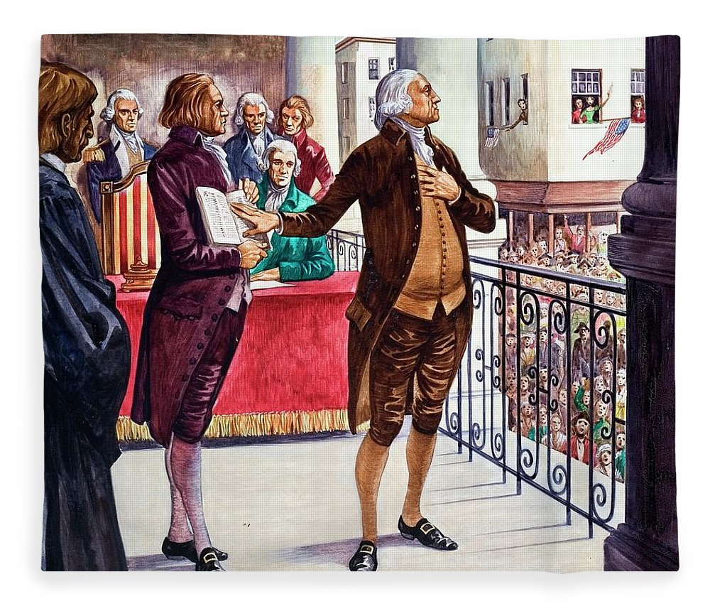 George Washington Being Sworn In As President Of The United States Fleece Blanket For Sale By Peter Jackson