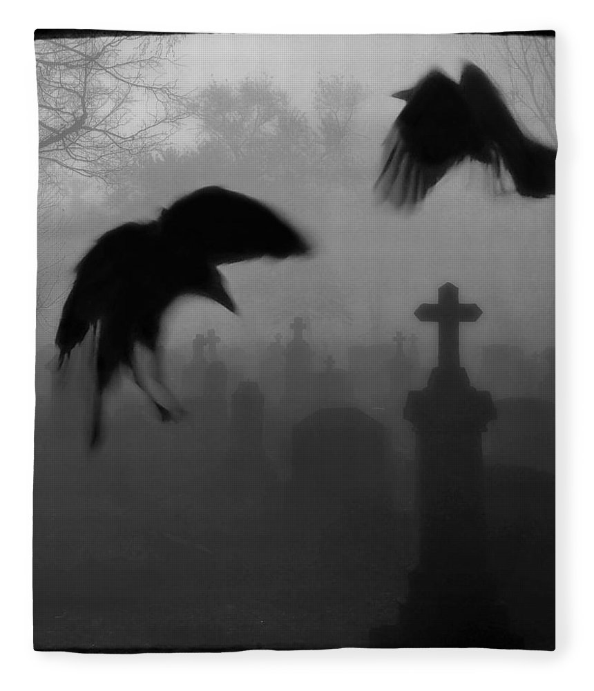 Crows Fleece Blanket featuring the photograph Ghost Crows by Gothicrow Images