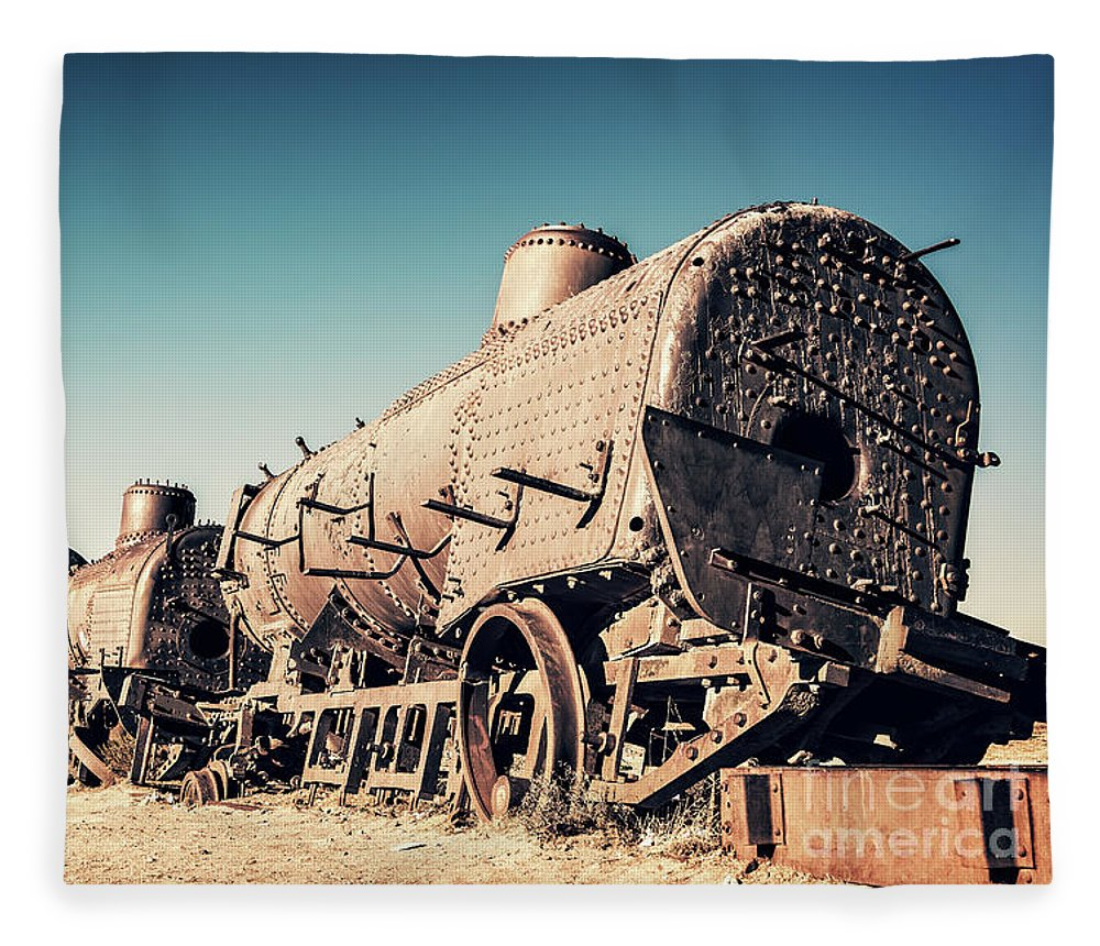 Train Fleece Blanket featuring the photograph Ghost Train In Uyuni, Bolivia by Delphimages Photo Creations