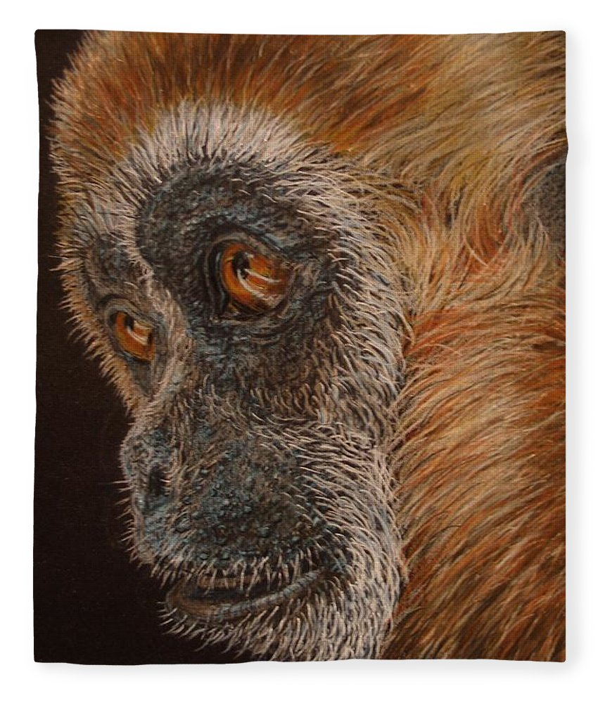 Animals Fleece Blanket featuring the drawing Gibbon by Karen Ilari