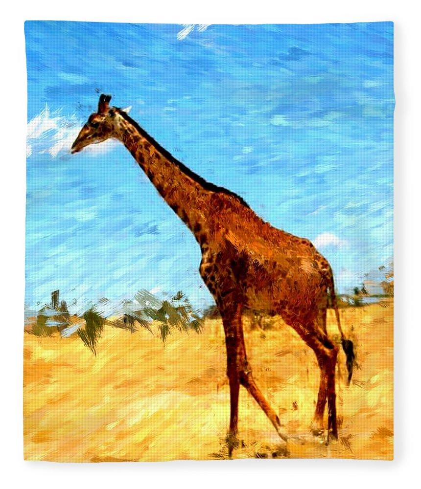 Giraffe Fleece Blanket featuring the photograph Giraffe by David Lane