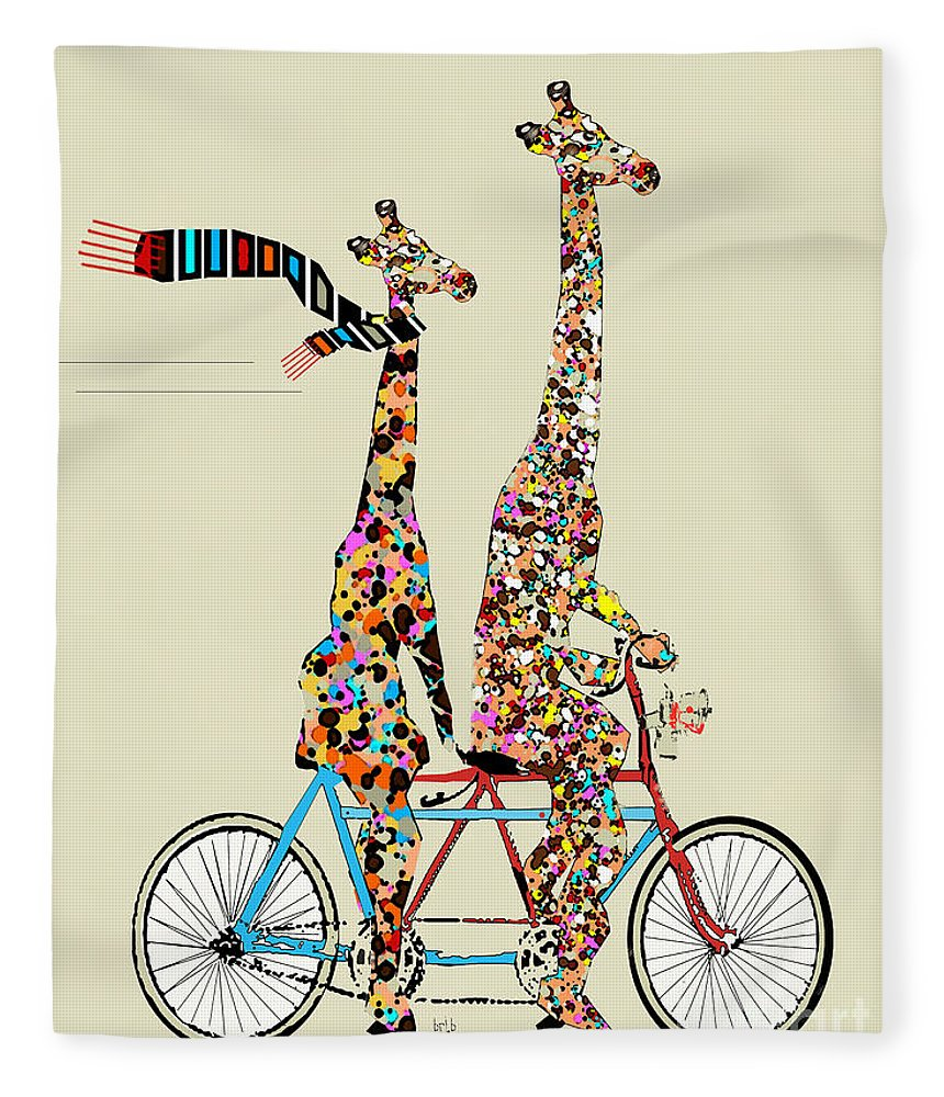 Giraffes Fleece Blanket featuring the painting Giraffe Days Lets Tandem by Bri Buckley