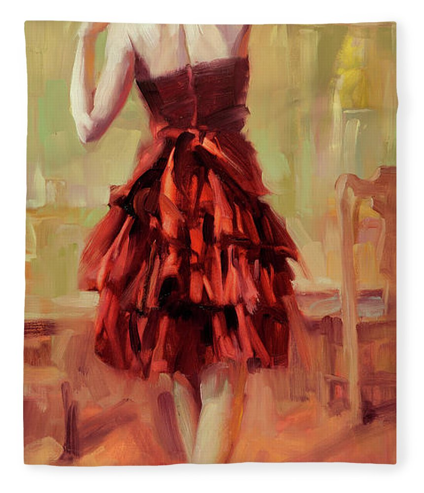 Dancer Fleece Blanket featuring the painting Girl In A Copper Dress IIi by Steve Henderson