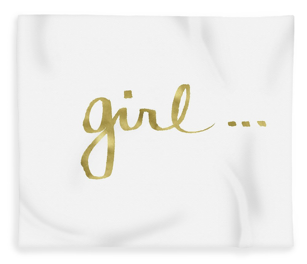 Little Black Dress Fleece Blanket featuring the painting Girl Talk Gold- Art by Linda Woods by Linda Woods