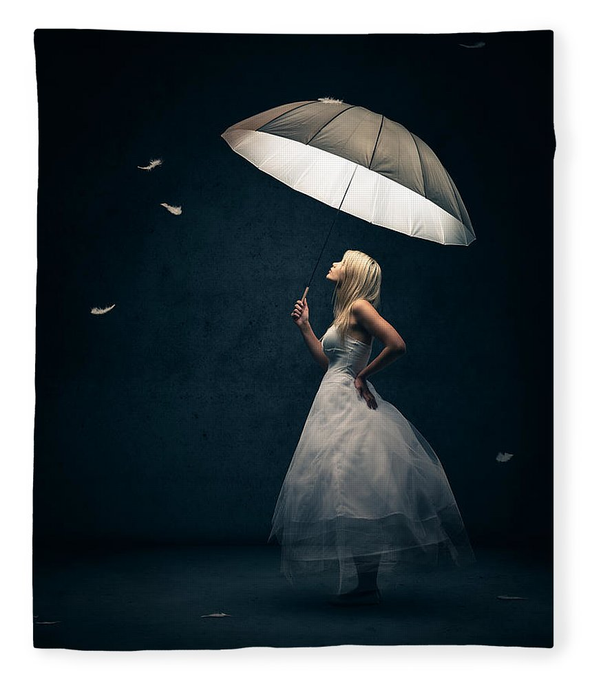 Girl Fleece Blanket featuring the photograph Girl With Umbrella And Falling Feathers by Johan Swanepoel