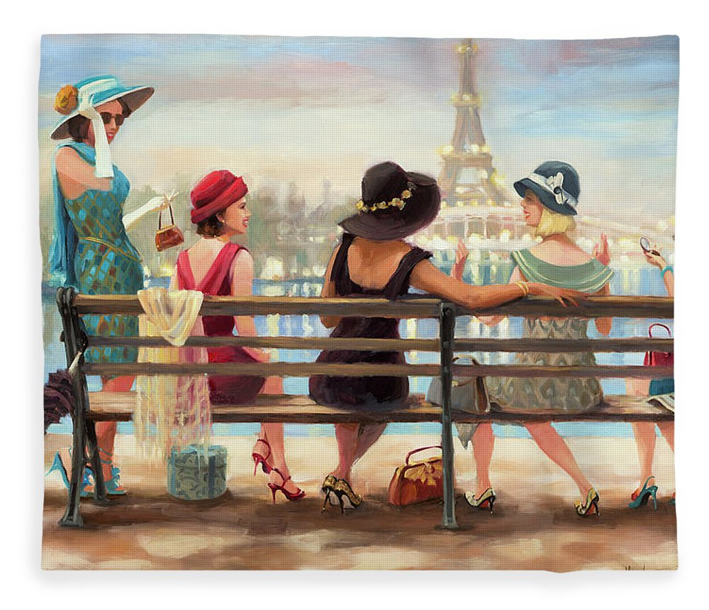 Paris Fleece Blanket featuring the painting Girls Day Out by Steve Henderson