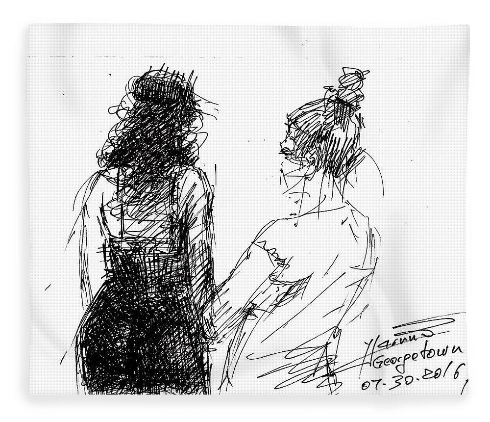 Girls Fleece Blanket featuring the drawing Girls by Ylli Haruni