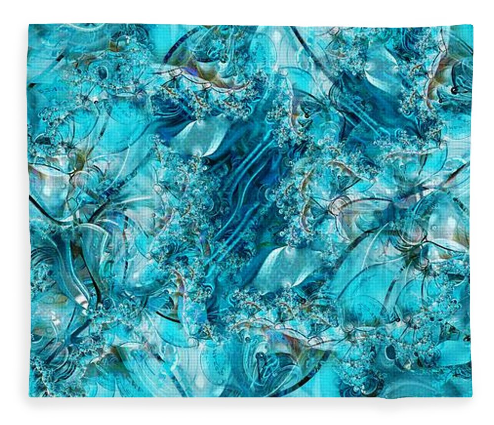 Collage Fleece Blanket featuring the digital art Glass Sea by Ron Bissett