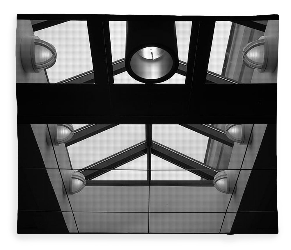 Black And White Fleece Blanket featuring the photograph Glass Sky Lights by Rob Hans