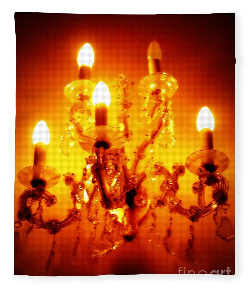 Dining Room Decor Fleece Blanket featuring the photograph Glowing Chandelier--Companion Piece by Carol Groenen