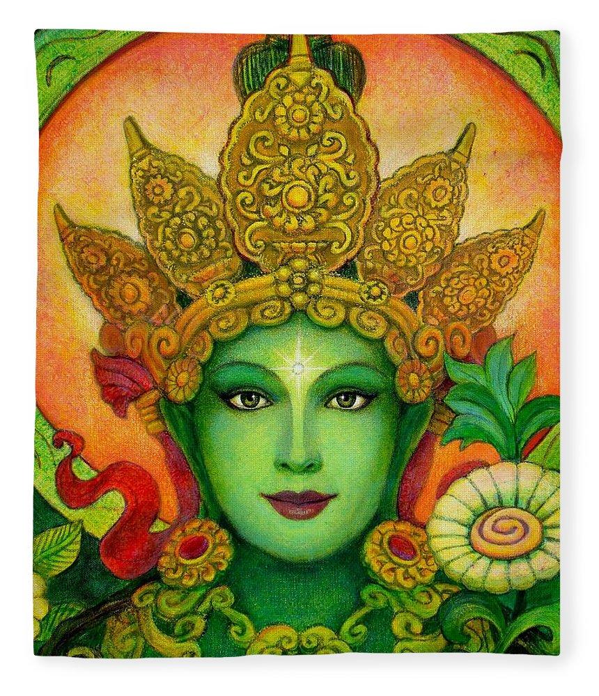 Goddess Fleece Blanket featuring the painting Goddess Green Tara's Face by Sue Halstenberg