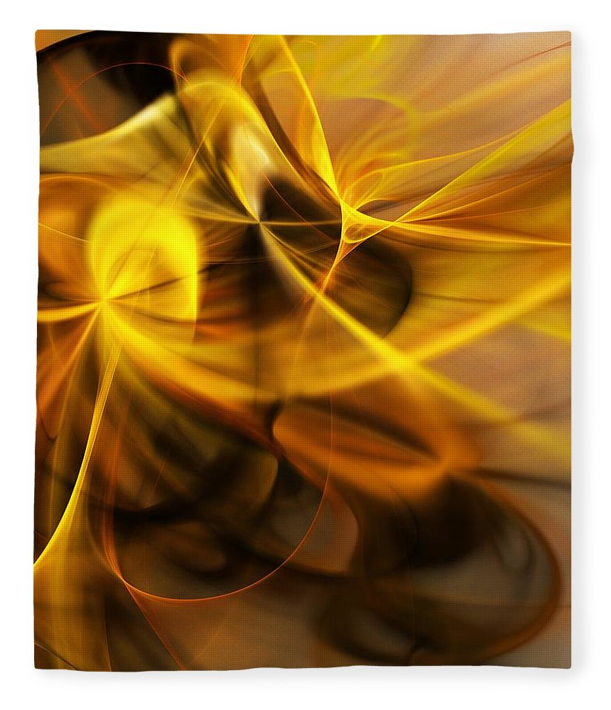 Fractal Fleece Blanket featuring the digital art Gold and Shadows by David Lane