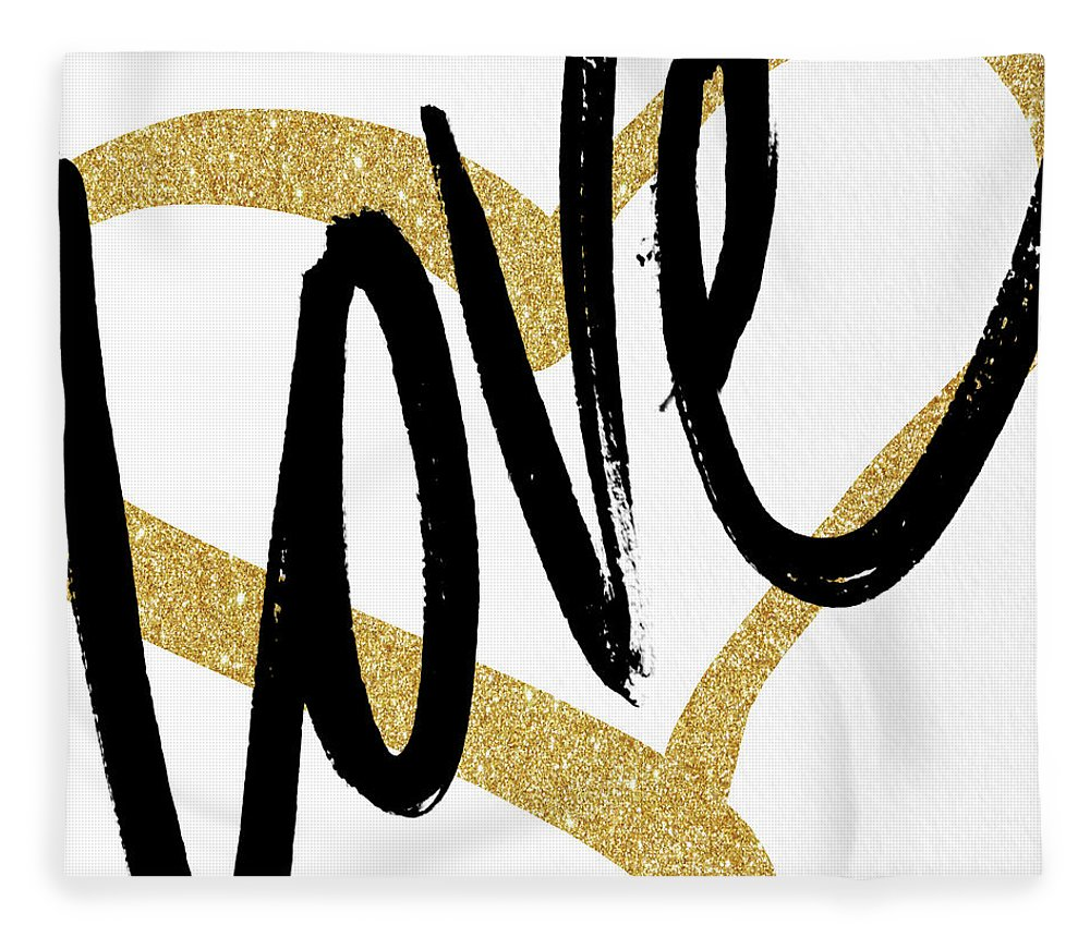 Gold Fleece Blanket featuring the painting Gold Heart Black Script Love by South Social Studio