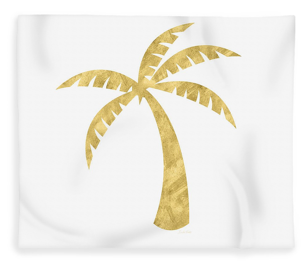 Palm Tree Fleece Blanket featuring the mixed media Gold Palm Tree- Art by Linda Woods by Linda Woods