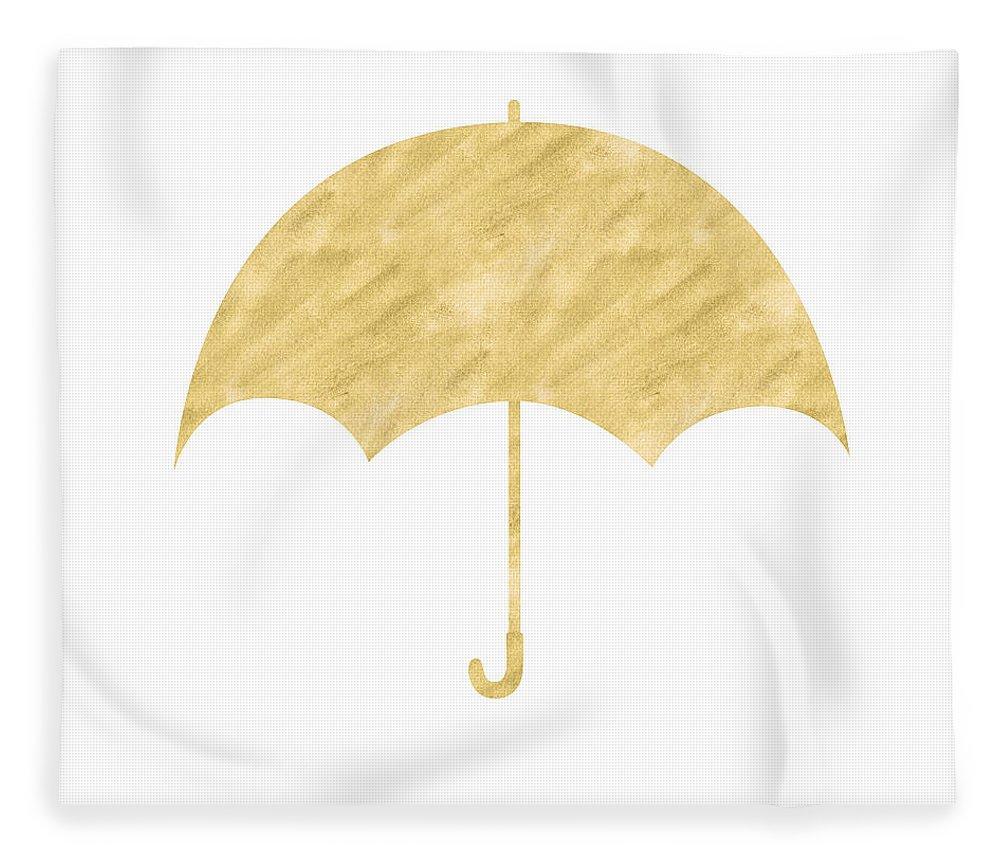 Umbrella Fleece Blanket featuring the mixed media Gold Umbrella- Art By Linda Woods by Linda Woods