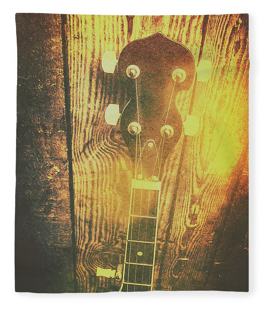Banjo Fleece Blanket featuring the photograph Golden Banjo Neck In Retro Folk Style by Jorgo Photography - Wall Art Gallery