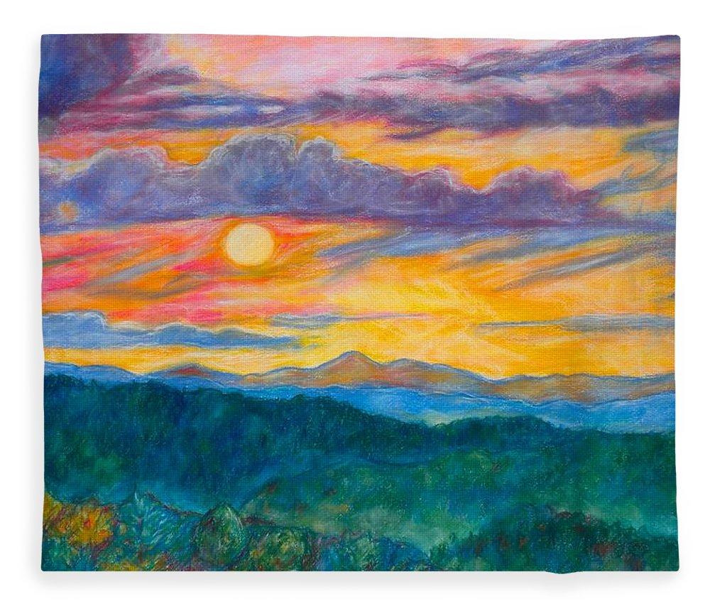 Landscape Fleece Blanket featuring the painting Golden Blue Ridge Sunset by Kendall Kessler