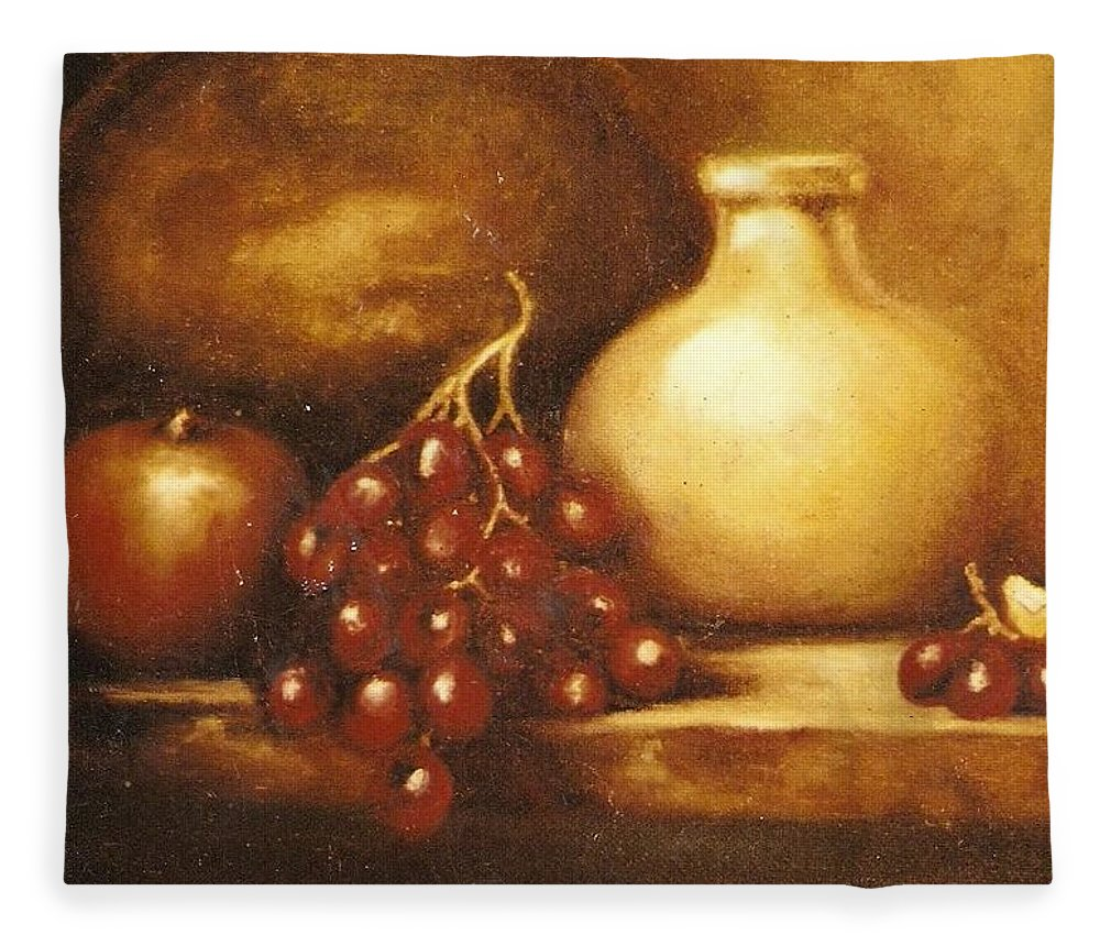 Still Life Fleece Blanket featuring the painting Golden Carafe by Jordana Sands