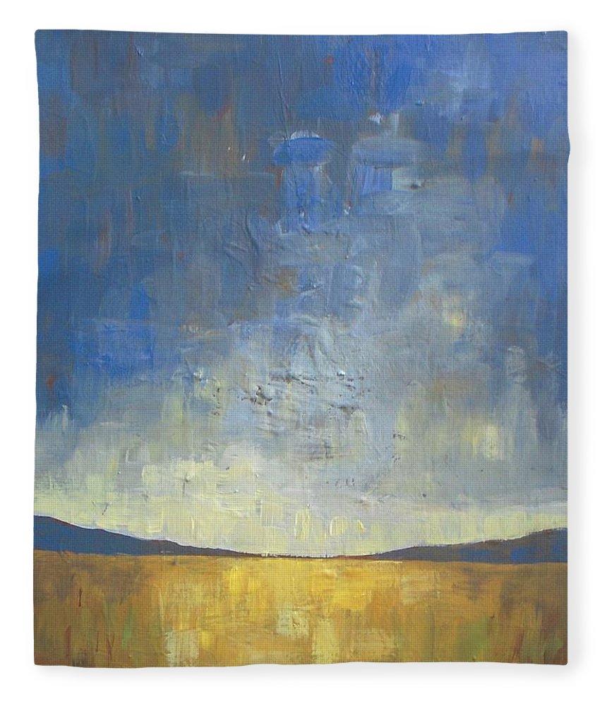 Autumn Fleece Blanket featuring the painting Golden Glow by Vesna Antic
