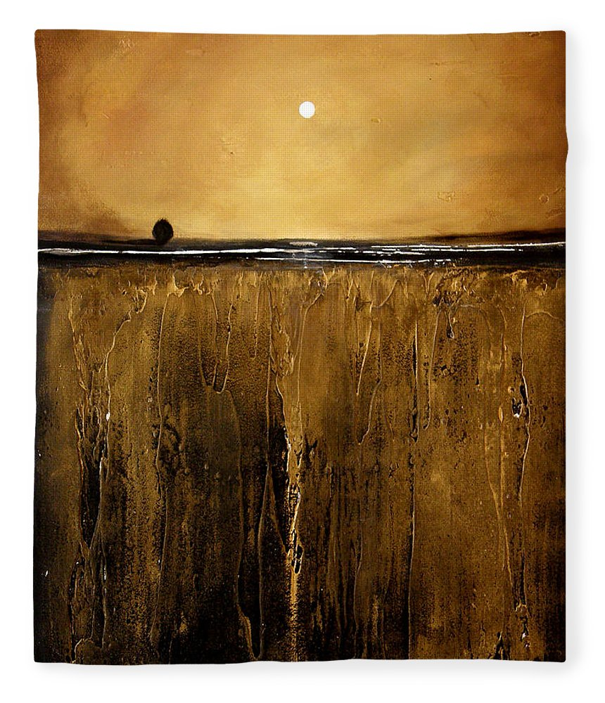 Minimalist Art Fleece Blanket featuring the painting Golden Inspirations by Toni Grote