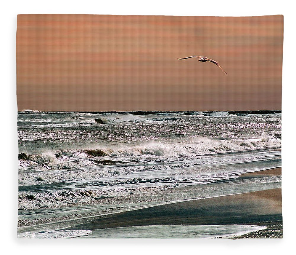 Seascape Fleece Blanket featuring the photograph Golden Shore by Steve Karol