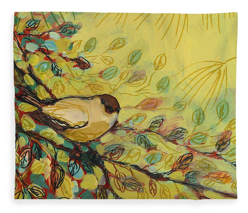 Bird Fleece Blanket featuring the painting Goldfinch Waiting by Jennifer Lommers