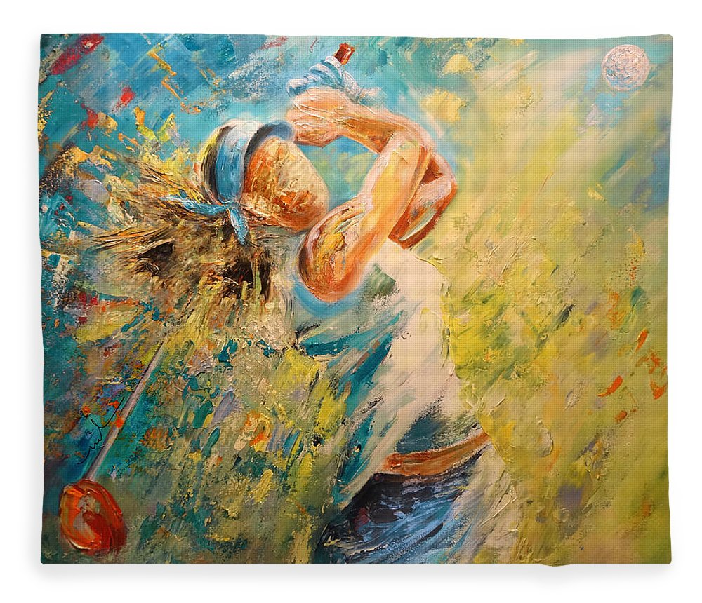Sports Fleece Blanket featuring the painting Golf Passion by Miki De Goodaboom