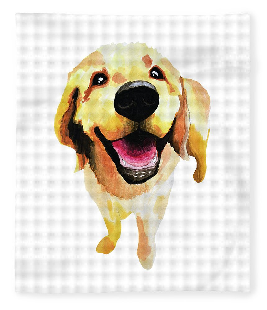 Dog Fleece Blanket featuring the painting Good Boy by Amy Giacomelli