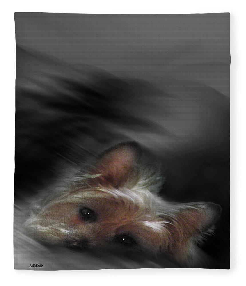 Art Fleece Blanket featuring the digital art Yorkie Joy Painting by Miss Pet Sitter