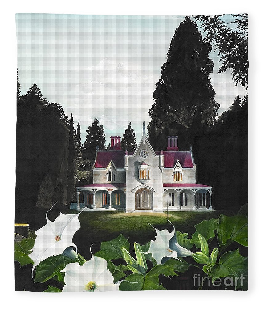 Fantasy Fleece Blanket featuring the painting Gothic Country House detail from Night Bridge by Melissa A Benson