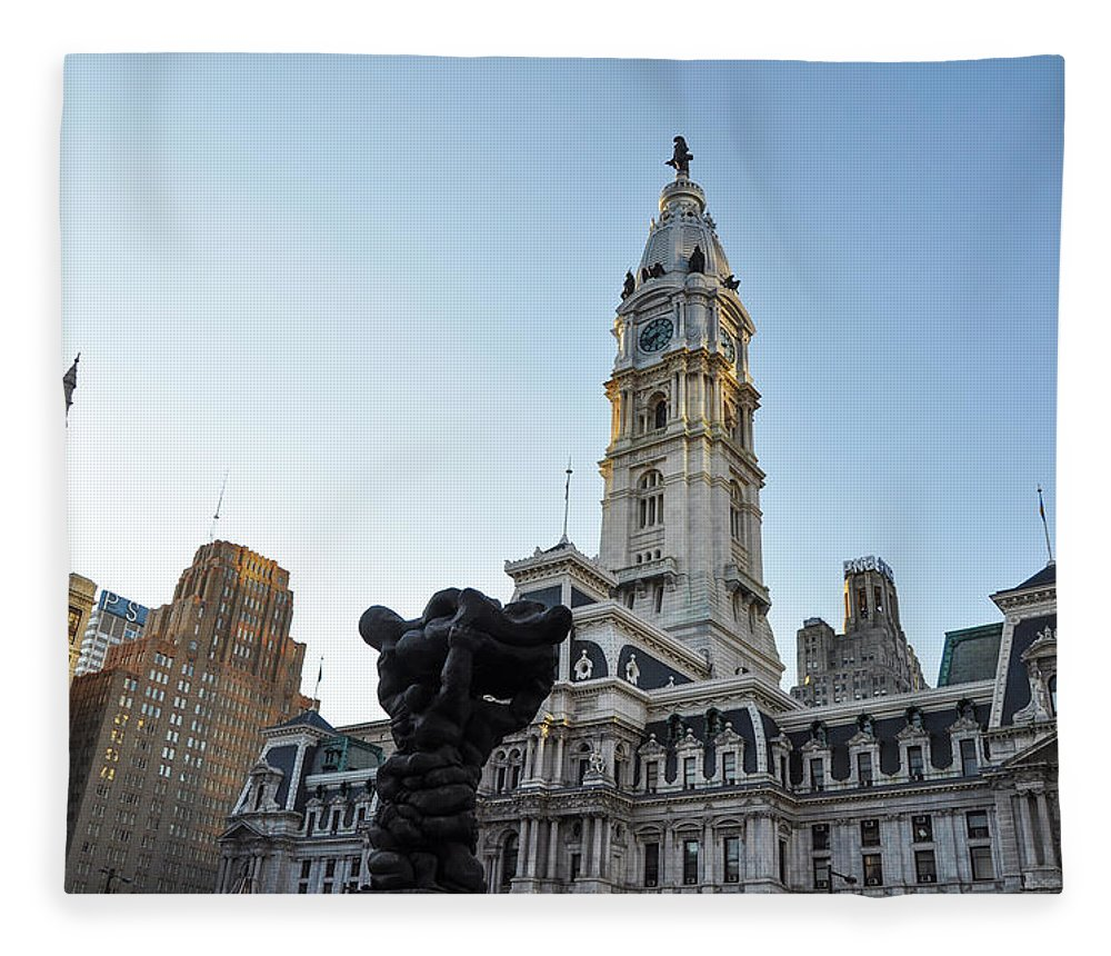 Government Fleece Blanket featuring the photograph Government Of The People And City Hall Philadelphia by Bill Cannon