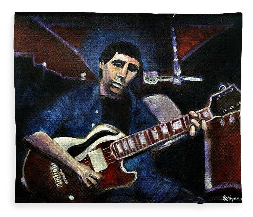 Shining Guitar Fleece Blanket featuring the painting Graceland Tribute to Paul Simon by Seth Weaver
