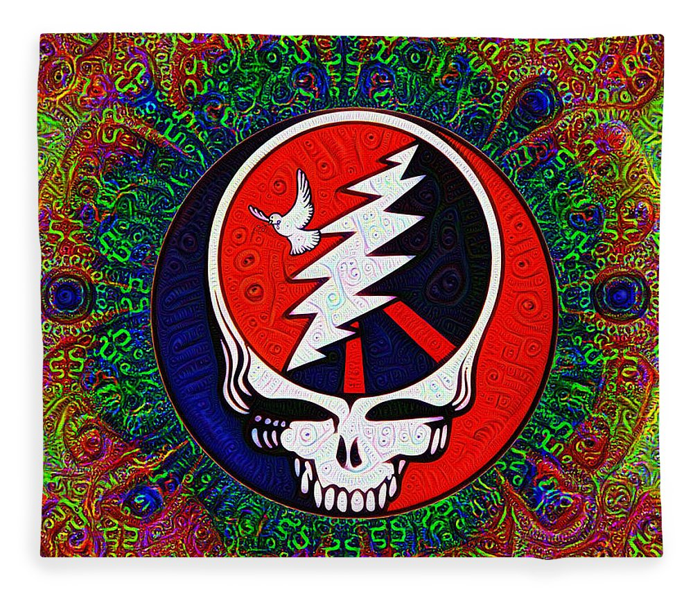 Grateful Fleece Blanket featuring the painting Grateful Dead by Bill Cannon