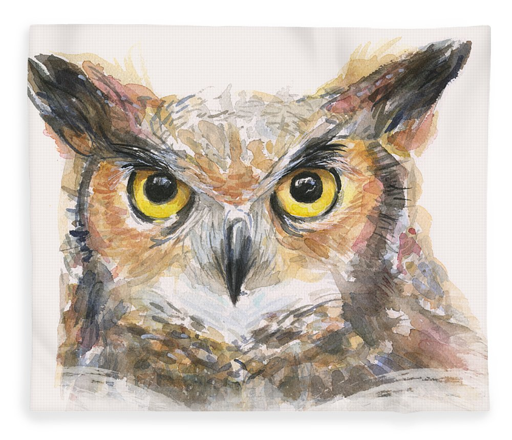 Owl Fleece Blanket featuring the painting Great Horned Owl Watercolor by Olga Shvartsur