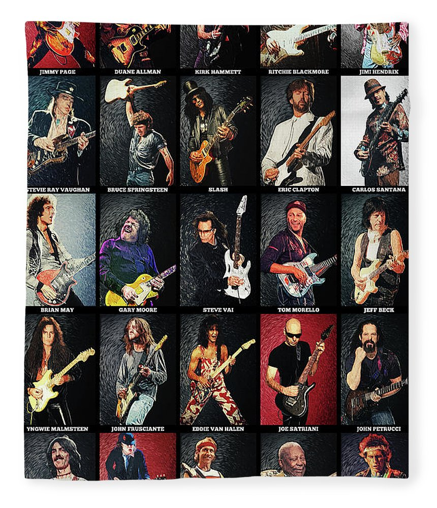 Guitar Fleece Blanket featuring the digital art Greatest Guitarists Of All Time by Zapista OU