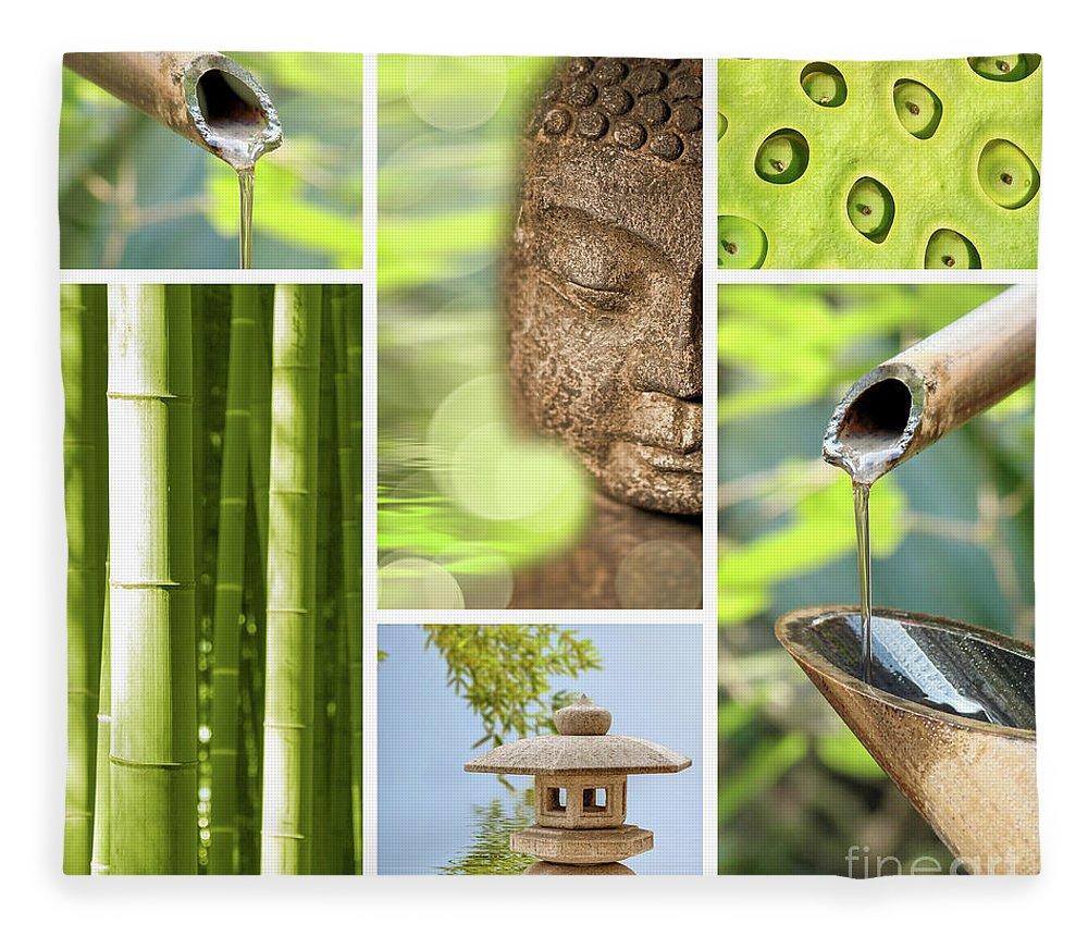 Buddha Fleece Blanket featuring the photograph Green Collage by Delphimages Photo Creations