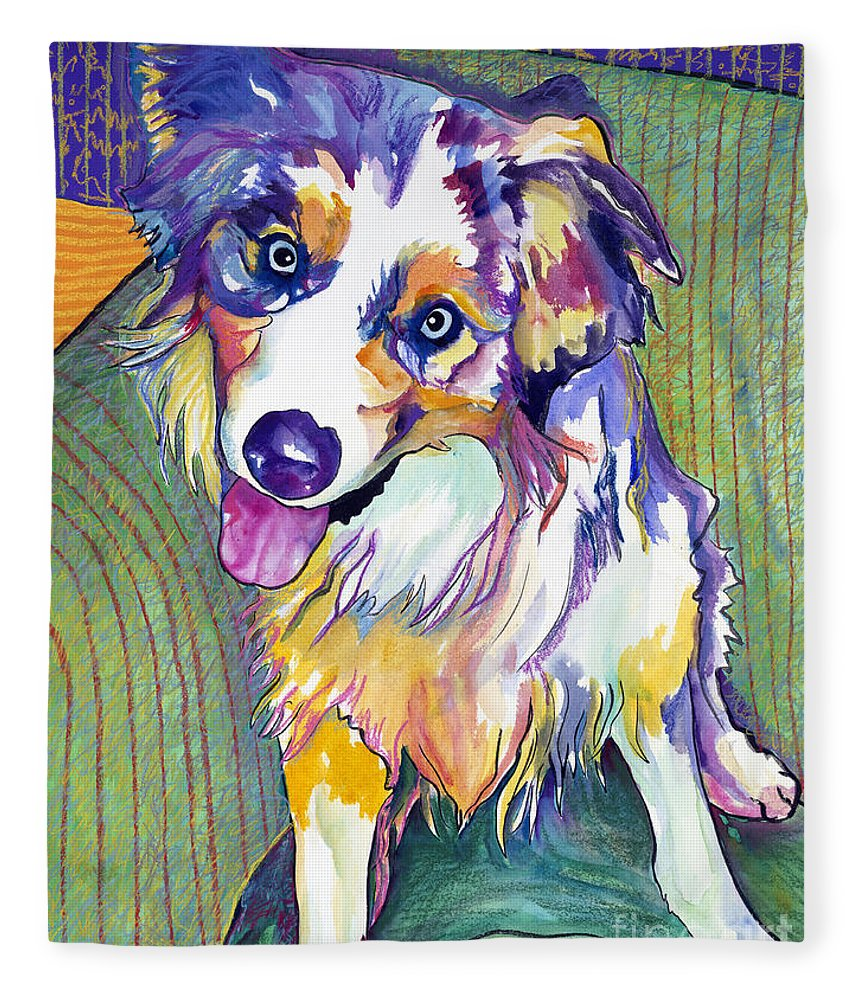 Pat Saunders-white Fleece Blanket featuring the painting Green Couch  by Pat Saunders-White