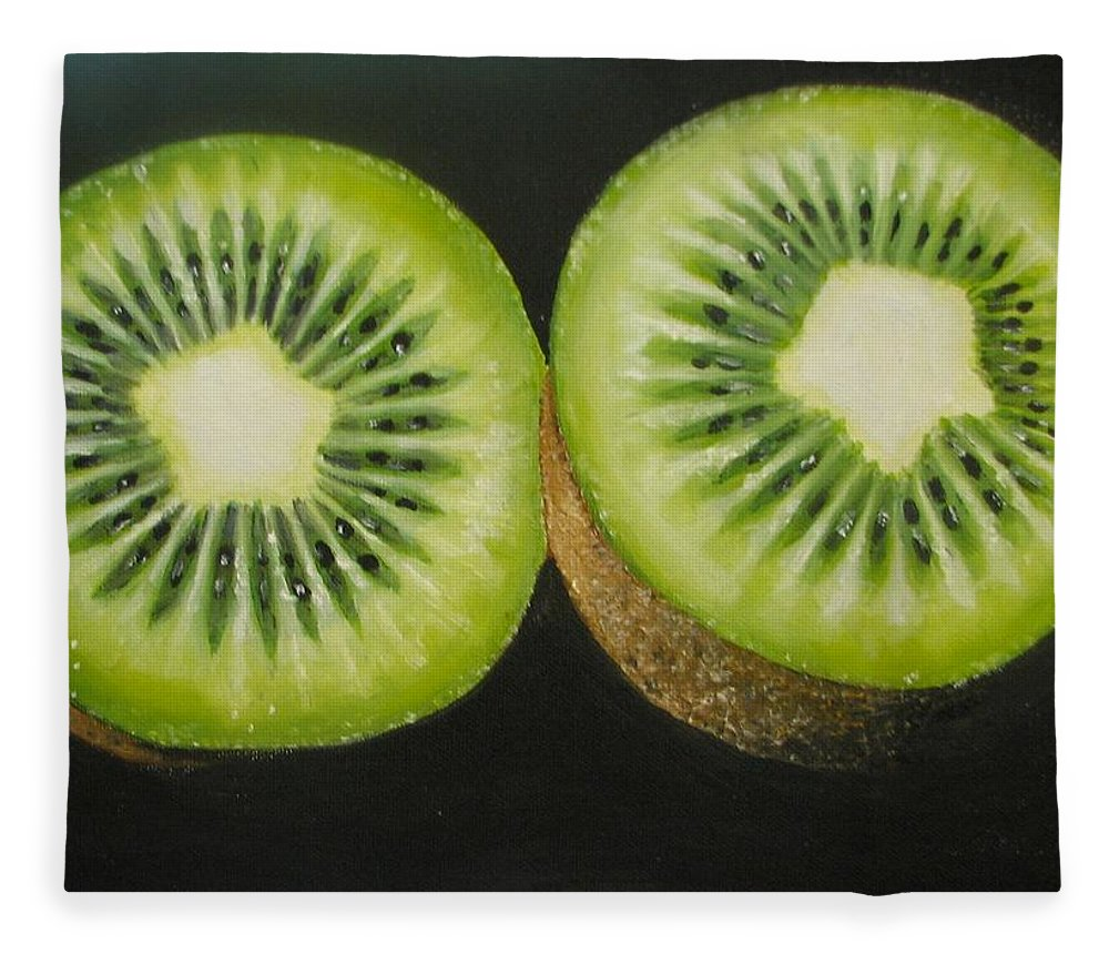 Abstract Fleece Blanket featuring the painting Green kiwi oil painting by Natalja Picugina