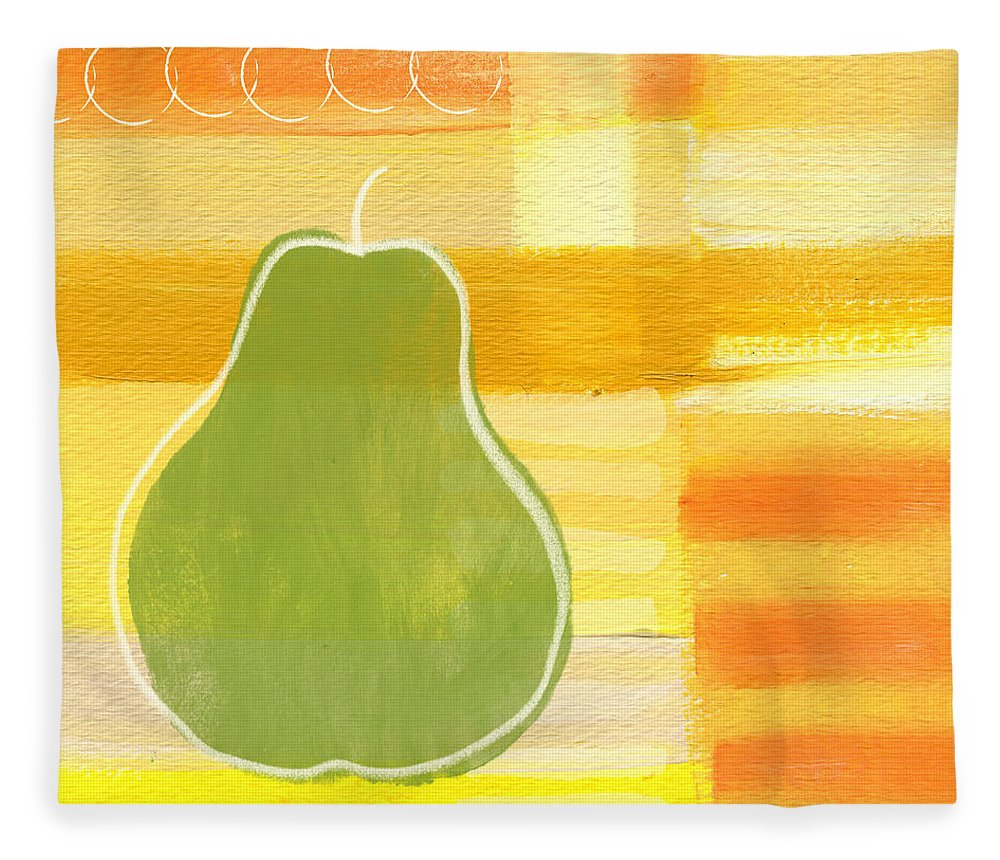 Pear Fleece Blanket featuring the painting Green Pear- Art By Linda Woods by Linda Woods