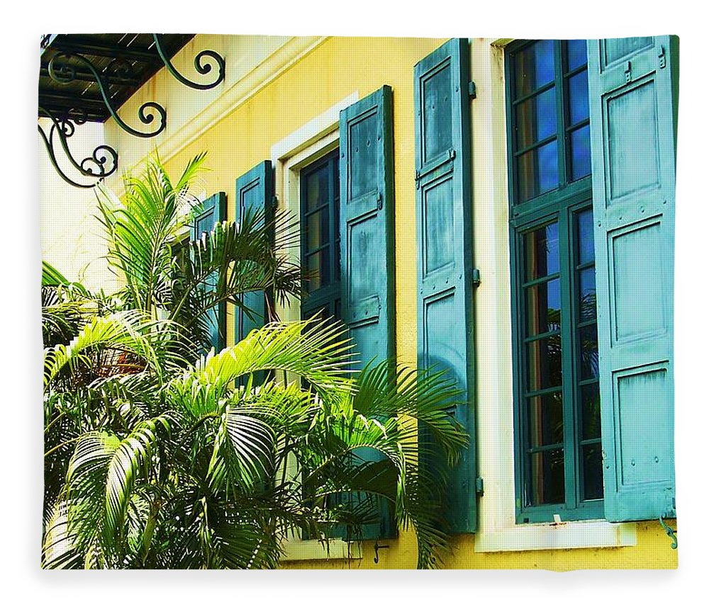 Architecture Fleece Blanket featuring the photograph Green Shutters by Debbi Granruth