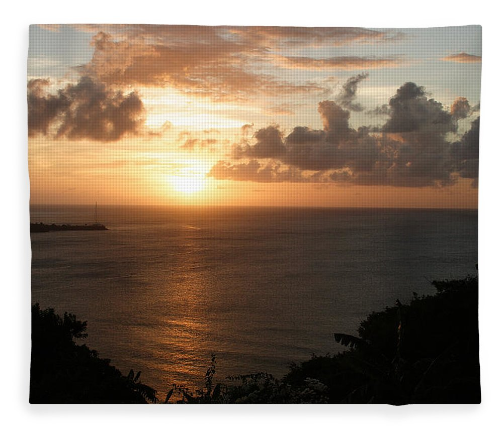 Grenada Fleece Blanket featuring the photograph Grenadian Sunset I by Jean Macaluso